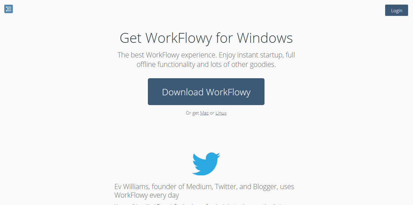 Página descarga de Workflowy